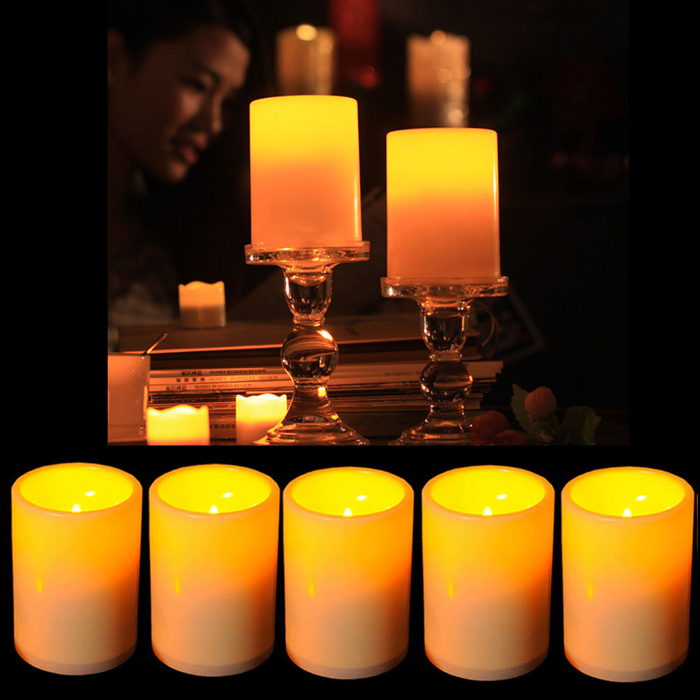 5pcs Flickering Flameless Resin Pillar LED Candle Lights with 6 Hour Timer US