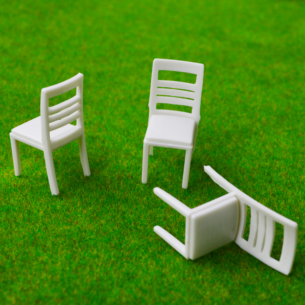 Teraysun 100pcs 1/30  scale Architectural model furniture ABS plastic chair for train layout scenery