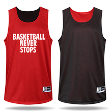 2016 Men s Basketball Reversible Clothes Suits Sportswear Breathable Jersey and Shorts Set red black