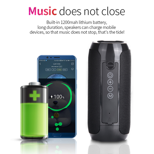 TG117 Bluetooth Outdoor Speaker Waterproof Portable Wireless Column Loudspeaker Box Support TF Card FM Radio Aux Input 2