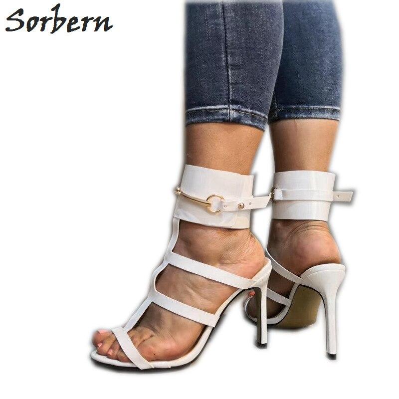 Sorbern белый с Т образным ремешком женские сандалии слинбэки Летний стиль туфли на высоком каблуке шпильки каблуки размер 11 уличные туфли Scarpin