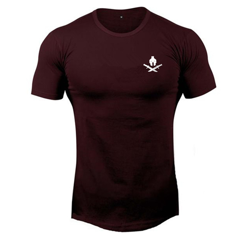 Mens Summer New  T-shirt Workout Fitness Bodybuilding Shirts Slim Fit Fashion Casual Male Short Sleeve Cotton Tees Tops Clothes