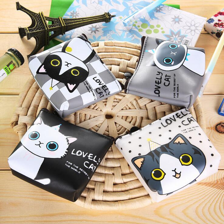 New 2016 Women Cute Cartoon Cat Coin Purse PU Leather Wallet Pouch Bag Kids Keychain Card Holder Bag For children Gift m215 cute cartoon pets akita dog siberian husky personality plush coin purse wallet girl women student gift wholesale