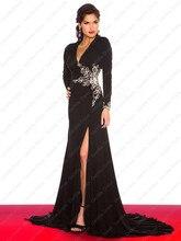 Höhe Aufgeschlitzte Schwarz Abendkleid mit Langen Ärmeln Ausschnitt Zurück V-ausschnitt Stretch Kleid Benutzerdefinierte Größe