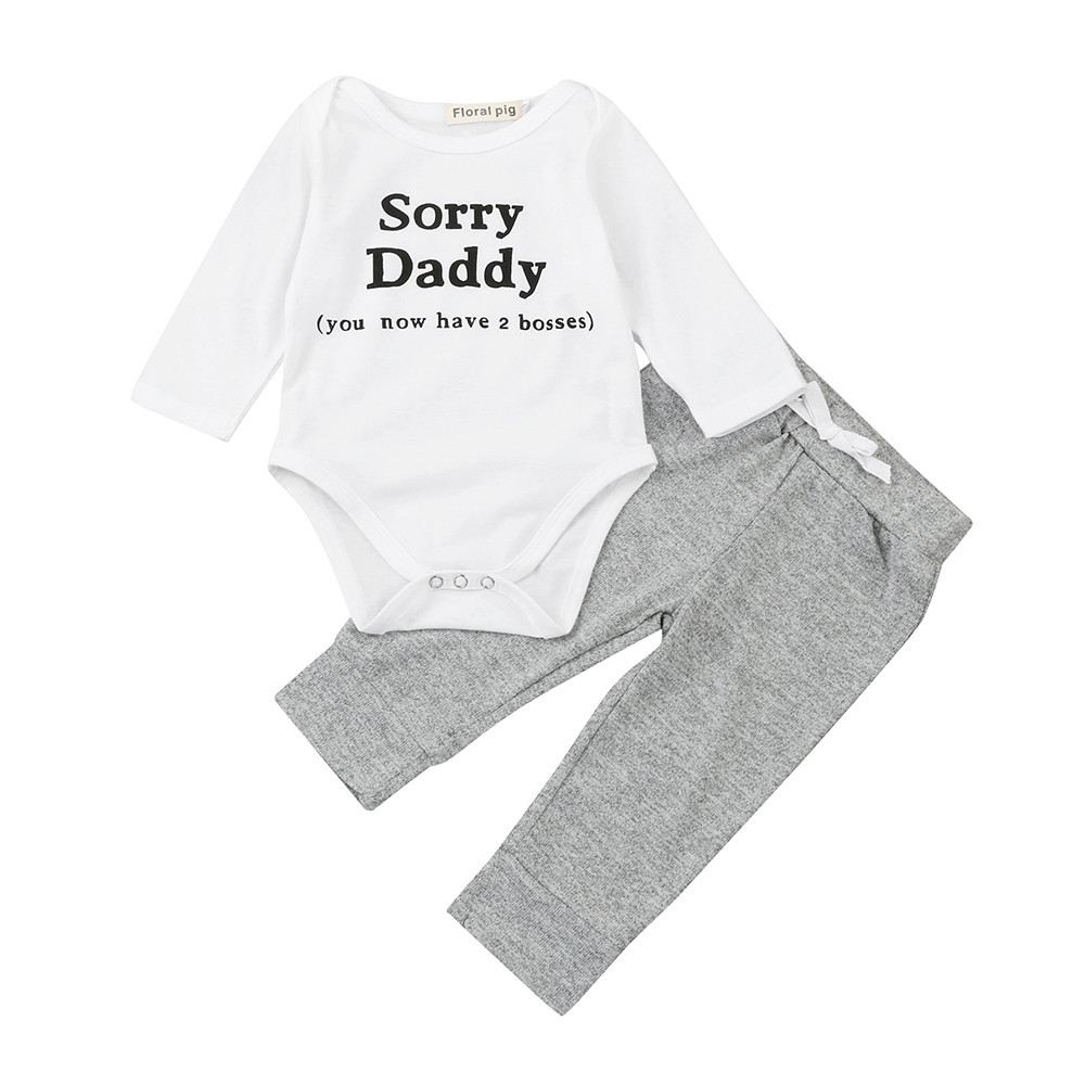 Newest comfy baby clothes Newborn Baby Boys Girls Letter Romper Jumpsuit Pants 2Pcs Suit Outfits Clothes Sorry Daddy best gifts