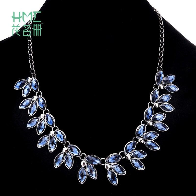 Short Necklace Wedding-Jewelry-Accessories Crystal-Statement Party Dark-Blue Women