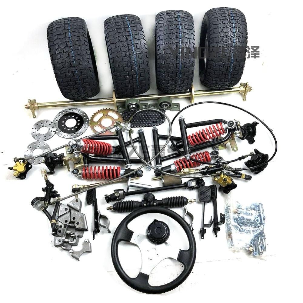 """GO KART KARTING ATV UTV Buggy 1M Rear Axle Steering Gear Rack Pinion U Joint Tie Rod Steering Wheel Brake Pump With 6"""" Wheels"""