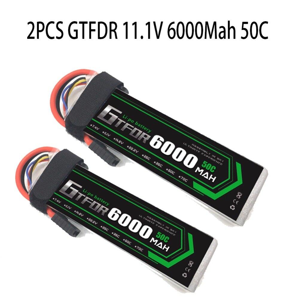 2 pcs 3 s 6000 mah 11.1 v 50C GTFDR Lipo Batterie pour TRAXXAS X-MAXX UNLIMITDE E-REVO TR-4 RC Voiture RC Bateau RC Drone