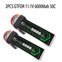 2PCS 3S 6000mAh 11.1V 50C GTFDR Lipo Battery for trx X MAXX UNLIMITDE E REVO TR 4 RC Car RC Boat RC Drone