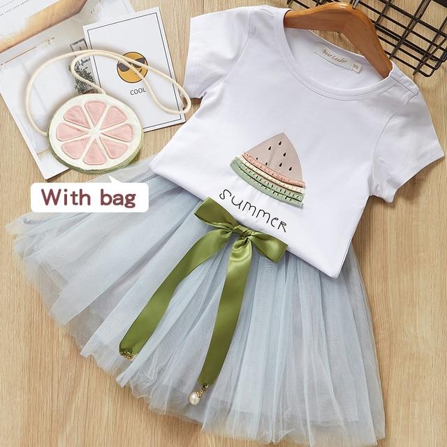 421f6cb1 Baby Girls Clothing Sets New Summer Style Watermelon Print White Short  Sleeve T-Shirt +Short skirt 2Pcs Suit Brand Clothes Dress