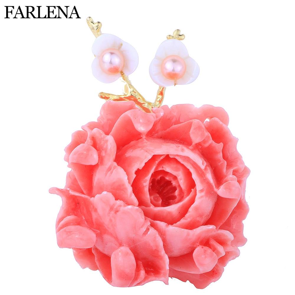 FARLENA Jewelry Pink Shell Powder Peony Flower Brooches pins for Women Dress Elegant Freshwater Pearl Brooch delicate faux pearl rhinestone flower brooch for women