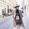 Momen marrón 2017 de la moda de Mezcla de lana escudo x-long abrigo de mezcla de lana gruesa caliente de gran tamaño batwing manga outwear traje
