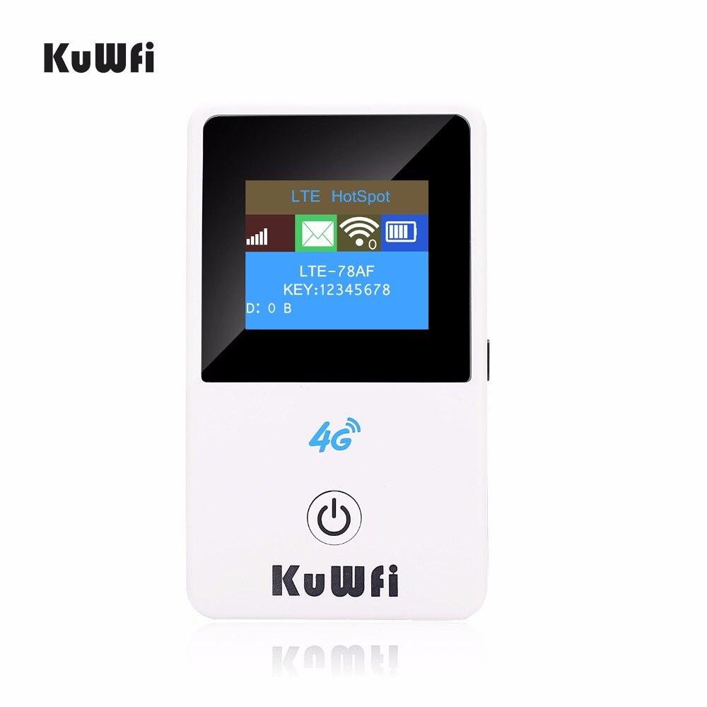 KuWFi Débloqué 150 Mbps 4g Mini Wifi Routeur 3g 4g Lte Sans Fil Portable Poche Mobile Hotspot De Voiture wi-fi Routeur Avec Écran lcd