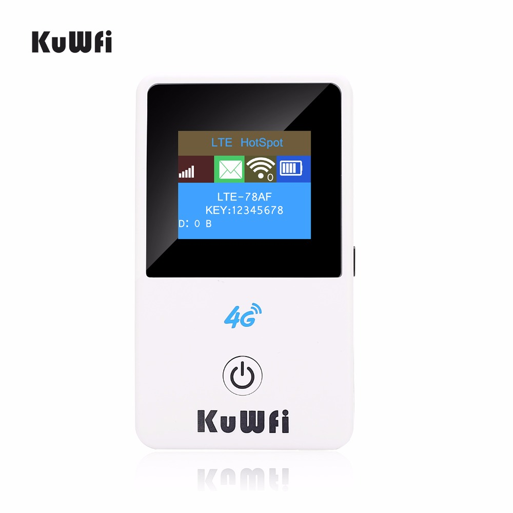 KuWFi Unlocked 150Mbps 4G Mini Wifi Router 3G 4G Lte Wireless Portable Pocket Mobile Hotspot Car Wi-fi Router With LCD Display hame a5 3g wi fi ieee802 11b g n 150mbps router hotspot black