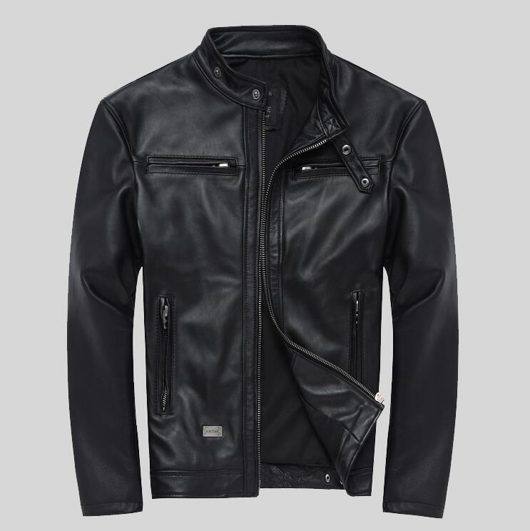 Jacket Sheep-Skin 4XL Slim Collar Men Youth Motorcycle Paragraph Men's Single
