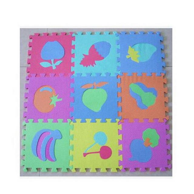 10 unidades/pacote Esteira Do Jogo Do Bebê Dos Desenhos Animados Da Espuma de Eva Esteira do Enigma Jigsaw Crianças Playmat Educacional Digital & Fruit & Animal Jogar esteiras