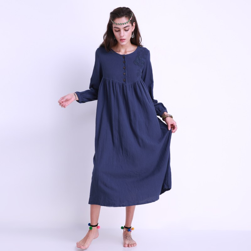 Women Casual Maxi Elegant Long Solid Dress Retro Floral Embroidery Vestidos Long Sleeve Shift Dress Robe Loose Plus Size 3XL