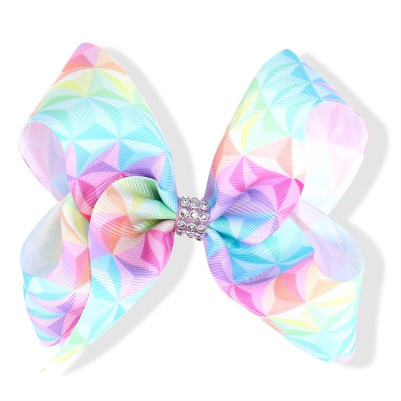 Boutique 20pcs 5 Fashion Cute Mermaid Print Ribbon Gemstone Bow Hairpins Solid Gradient Rainbow Bowknot Hair Clips Headware