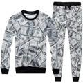 2016 men tracksuits set for 3D printed men dollars tracksuit  crewneck casual sweatshirt/ sweatpants outwear