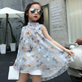 2017 New Girls Dress Summer Fashion Korean Children's Sleeveless Butterfly Printing Chiffon Casual Crew Neck Clothing Hot Sale