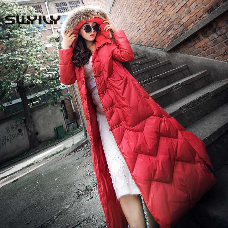 SWYIVY Women   Down     Coats   White Duck   Down   Hooded 2018 Winter New Female Fur Collar Warm Winter   Coat   X-long Design Woman   Down     Coats