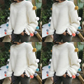 New Fashion Plush Ball candy colors Sweater women woolen long sweater Pullovers Warm Knitwear