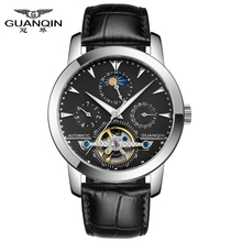 factory outlet GUANQIN GQ16002 luxury automatic self-wind watch men's Skeleton moon phase Tourbillon relogio masculino