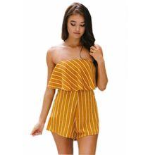 New summer Europe and America Poland popular fashion personality stripe style sleeveless wide leg female jumpsuit