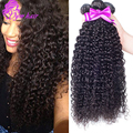 Venta caliente 10A Malasia Virginal Del Pelo Rizado Malasio Rizado Pelo 4 unids/lote/Curly Weave Bundles Extensiones de Cabello Humano Natural Color