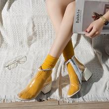 Hot Sale Transparent PVC Martin Boots Block High Heels 5CM Yellow Red Blue Purple Ankle Zipper Female BT22