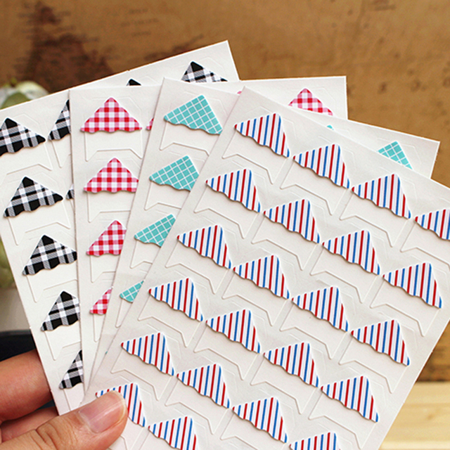 1 sheet (24 pcs) Color grid twill paper stickers photo album diary sticker DIY Handmade Stickers Gift Decor Card Scrapbooking