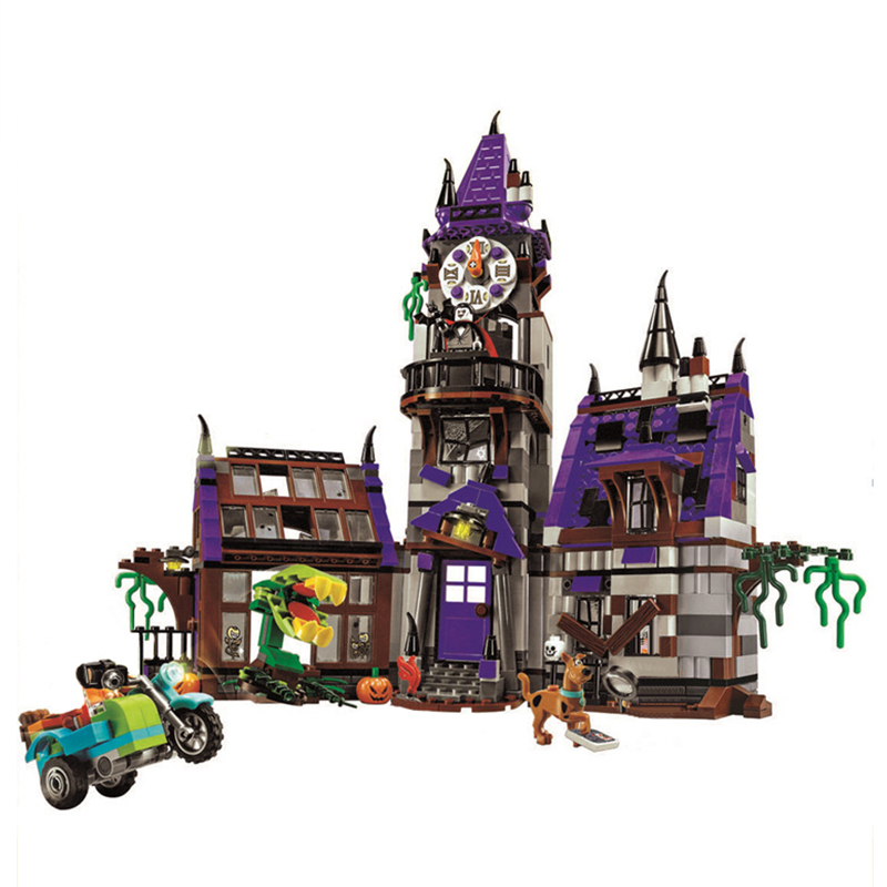 New Scooby Doo Mystery Mansion Building Blocks Scoobydoo Shaggy Velma Vampire 3D Kids Toy Gifts Compatible Legoed Blocks Toys new scooby doo mystery castle courtyard mansion fit legoings scooby doo figures model building blocks bircks 75904 kid toy gift
