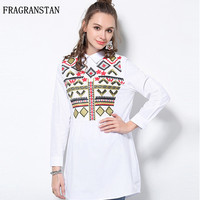 Spring Autumn Fashion Women New Blouses Large Size Long Sleeve Lapel Slim Casual Tops Chiffon Printed