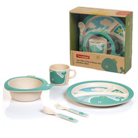 Baby Dinnerware Bamboo Fiber Children Kids Cutlery Sets 100 Green Dinner Plate Bowl Cup Spoon Fork