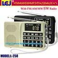 L-258 оптовая бесплатная доставка по FEDEX/DHL/UPS многополосный fm am mw sw радиоприемник mp3-плеер, может сохранить/удалить радио канал