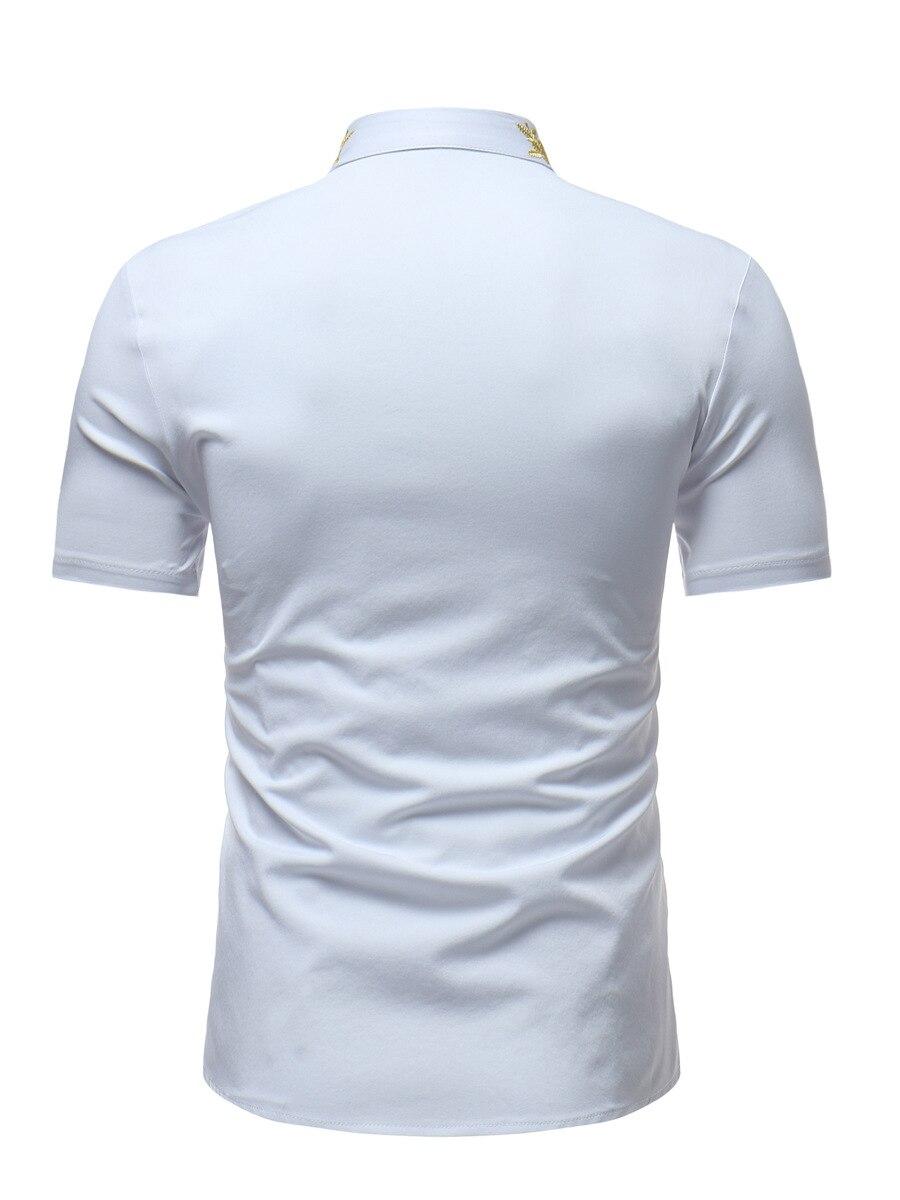 Mens Hipster Embroidery Shirt 2018 Summer New Mandarin Collar Short