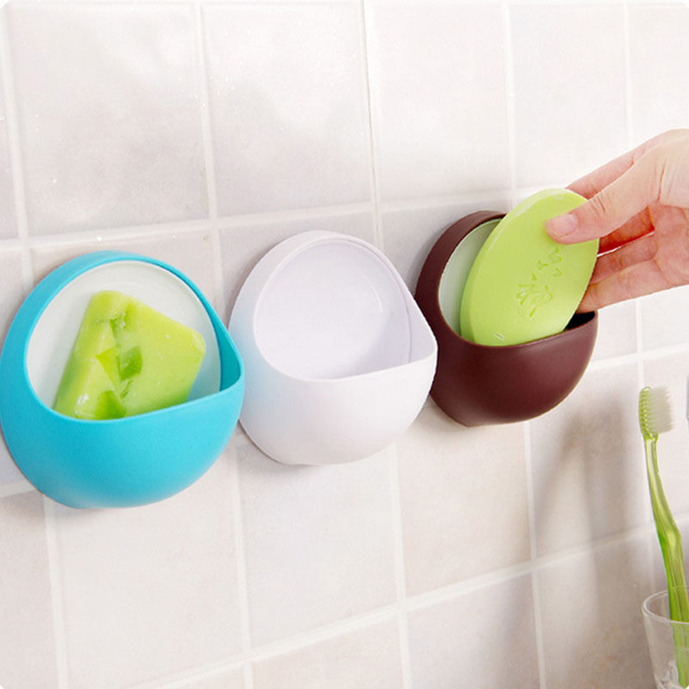 New Qualified Dropship Plastic Suction Cup Soap Toothbrush Box Dish Holder Bathroom Shower Accessory 3.13