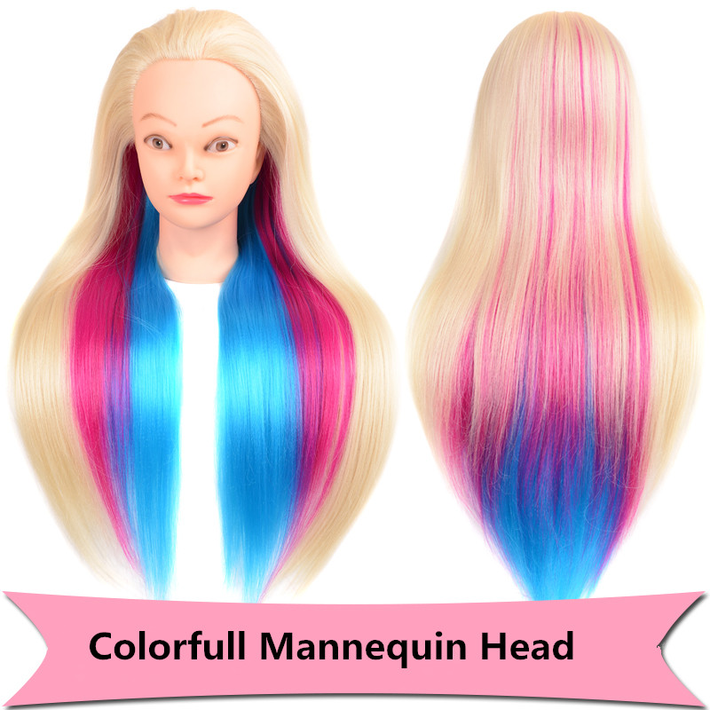 """24"""" 100% High Temperature Fiber Long Hair Hairdressing Training Head Model with Clamp Stand Practice Salon Mannequin Head"""