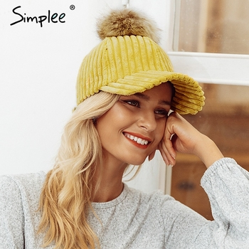 Women's Corduroy Adjustable Hat with Hair Ball