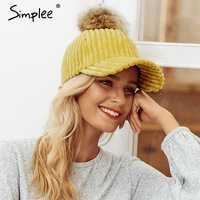 Simlpee Corduroy pelo bola ajustable mujer sombrero 2018 moda estilo Otoño Invierno mujer sombrero Casual elegante casquette