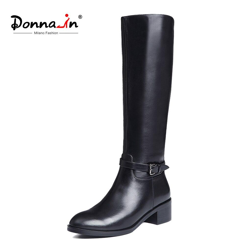 Donna-en Hiver Bottes Femmes Genou Haute Bottes De Fourrure Chaud Bottes Nouvelle Mode En Cuir Véritable Femmes Chaussures Bout Rond talon Noir Dames 2018