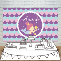 Allenjoy Girls Birthday backdrops baby shower background Beauty and fish purple birthday photobooth party banner customize