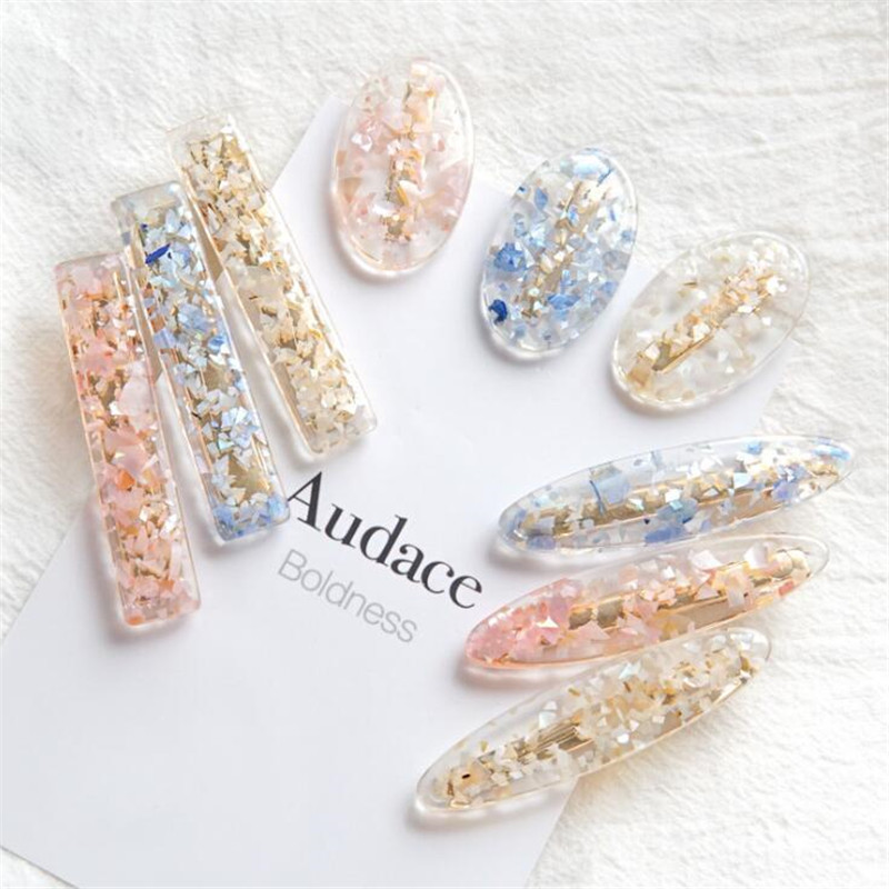 Sweet Acetate colorful Transparent Hair Grips Vintage Barrettes Hairpins   Headwear   Hair Clip Hair Accessories For Women Wedding
