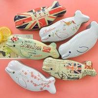 1PC Novelty Cute Dolphin Iron Box Gift Tea Candy Storage Seal Box Wedding Favor Tin Box
