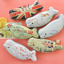 1Piece Novelty Dolphin fish iron box gift Tea candy storage seal box wedding favor tin box Jewelry Pill Cases portable container