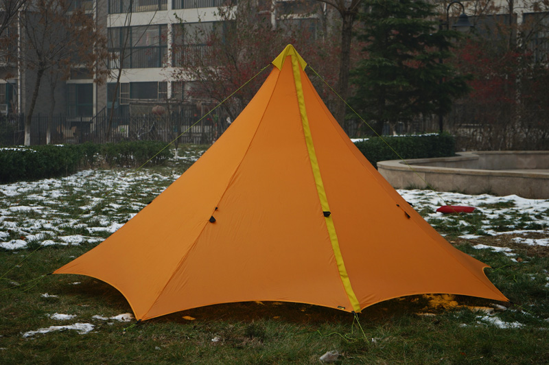 860G Camping Tent Ultralight 3-4 Person Outdoor 20D Nylon Both Sides Silicon Coating Rodless Pyramid Large Tent Camping 3 Season 1240g camping tent ultralight 6 8 person outdoor 20d nylon both sides silicon coating rodless large space tent triangle 4 season
