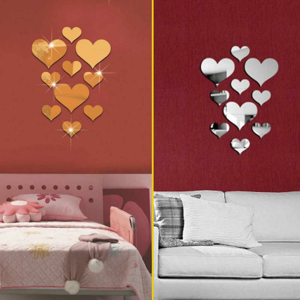 10pcs Love Heart Acrylic 3D Mirror Wall Sticker Mural Decal Removable Stickers