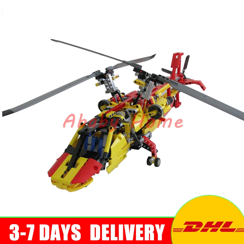 Decool 3357 1056pcs Rescue Helicopter 2 In 1 Transformable Building Blocks Bricks Children DIY Toys Gifts decool 3357 technic city series 2in1 helicopter building block 1056pcs diy educational toys for children compatible legoe