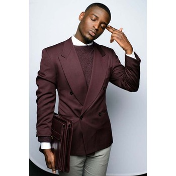 Custom Made Burgundy Blazer Double Breasted Mens Wedding Prom Party Suits 2 Pieces Groom Tuxedo terno masculino men suit