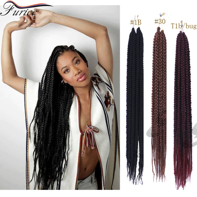 24 Inch Box Braids Blonde Crochet Twist Box Braids Hair